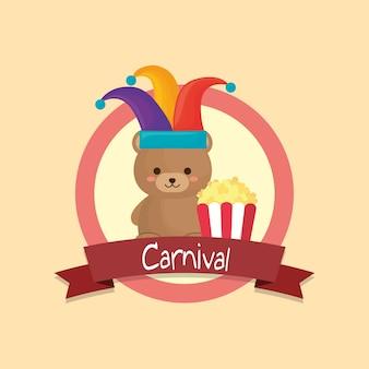Emblème de carnaval avec ours mignon