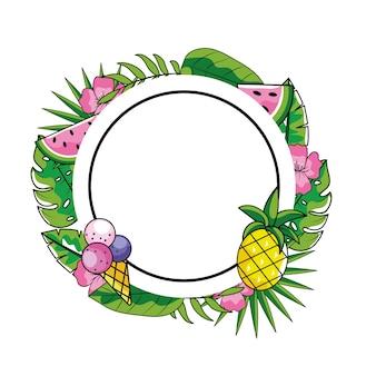 Emblème de cercle avec glace et ananas