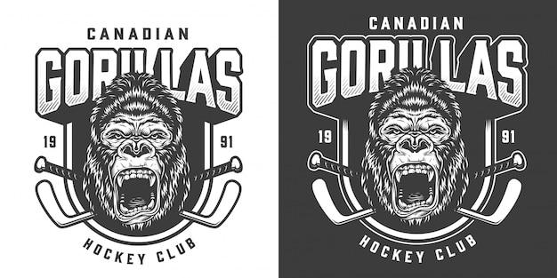 Emblème de club de hockey monochrome vintage