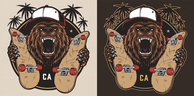 Emblème coloré de skateboard vintage