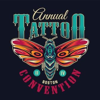 Emblème coloré de tatouage flash vintage