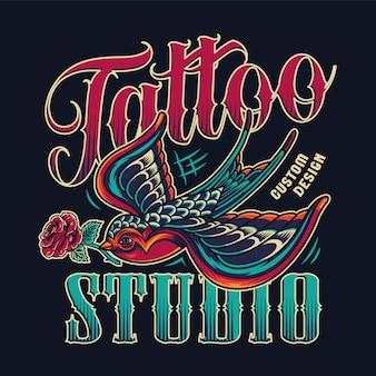 Emblème coloré vintage de studio de tatouage
