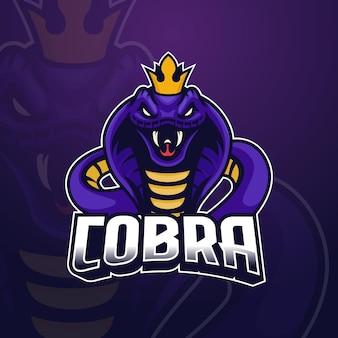 Emblème de conception de logo e-sport king cobra