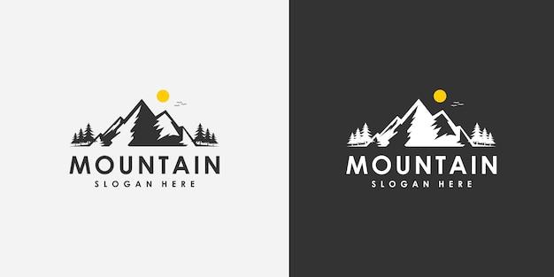 Emblème de conception de logo de montagne