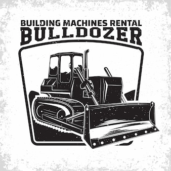 Emblème de conception de logo de travaux d'excavation de l'organisation de location de bulldozer