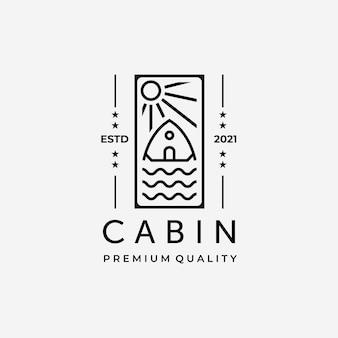 Emblème de la conception de vecteur de logo d'art de ligne de cabine, illustration du concept de chalet et d'eau minimaliste et simple