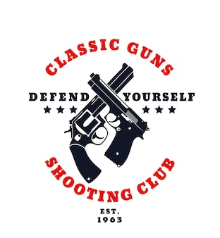 Emblème de couleur d'armes classiques avec pistolet croisé et revolver