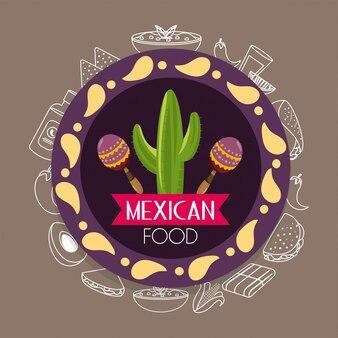 Emblème de la cuisine mexicaine avec des cactus et des maracas