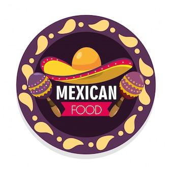 Emblème de la cuisine mexicaine avec chapeau et maracas