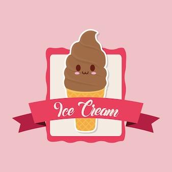 Emblème décoratif avec icône de crème glacée molle kawaii