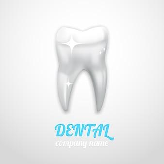 Emblème dentaire avec une dent propre et brillante