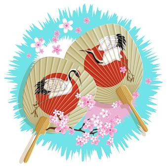 Emblème avec deux fans de papier japonais
