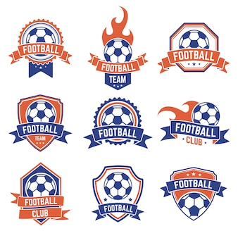 Emblème du club de football. logo de bouclier de badge de football, éléments de club de jeu d'équipe de ballon de football, compétition de football et jeu d'icônes de championnat. bouclier de championnat de football ou illustration d'équipe