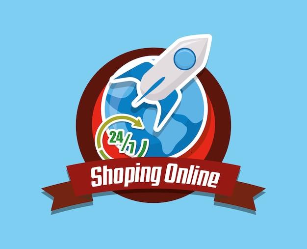 Emblème du concept de magasinage en ligne