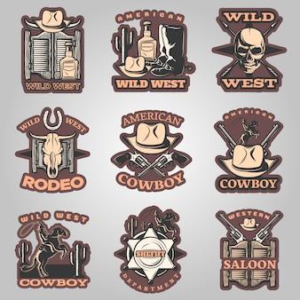 Emblème du far west mis en couleur avec des descriptions de cowboy et de rodéo américains de saloon occidental