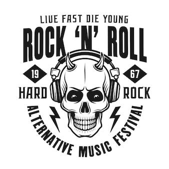 Emblème du festival de rock avec crâne dans les écouteurs