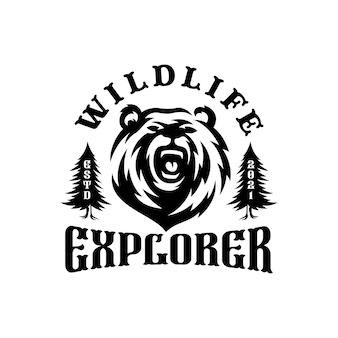 Emblème du logo ours. ours silhouettes tête et forêt.