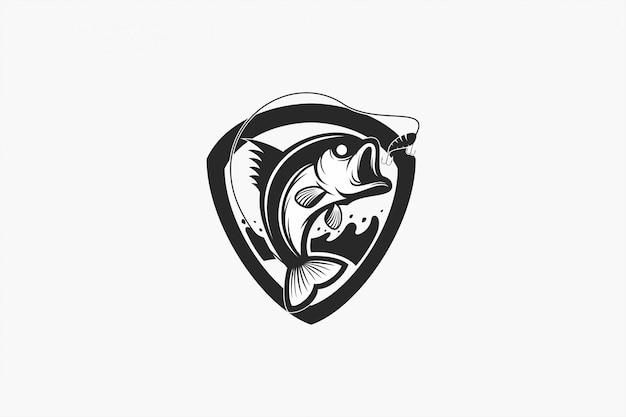 Emblème du logo poisson bash noir