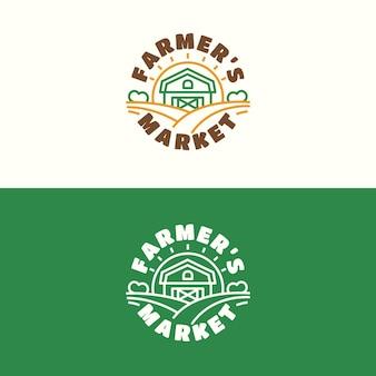 Emblème du marché fermier serti de style de ligne de couleur étable et champ