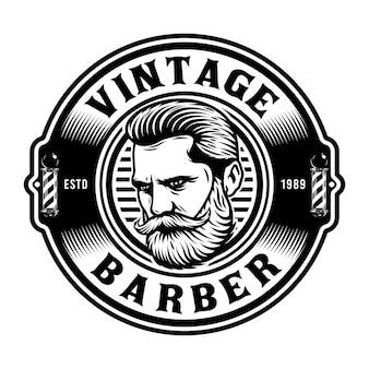 Emblème du salon de coiffure avec homme à barbe