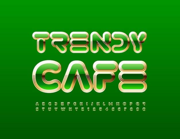Emblème élégant de vecteur trendy cafe vert et or alphabet lettres et chiffres style abstrait police