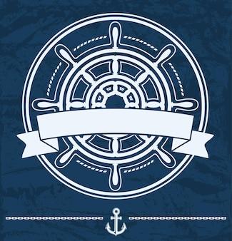 Emblème d'entreprise nautique de volant de navire avec bannière sur grunge bleu.