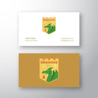 Emblème de l'équipe de dragons medeival sports. logo abstrait et modèle de carte de visite.