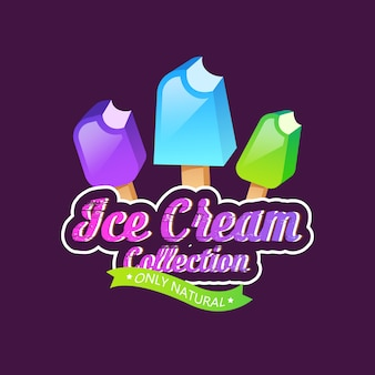 Emblème, étiquette ou badge de crème glacée
