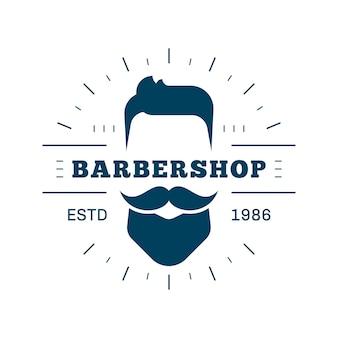 Emblème, étiquette ou logo de salon de coiffure vintage. dessin au trait de style plat