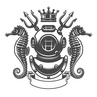 Emblème d'étiquette de plongée monochrome