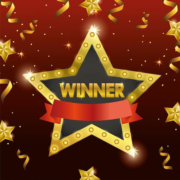 Emblème d'étoile gagnante avec ruban et confettis