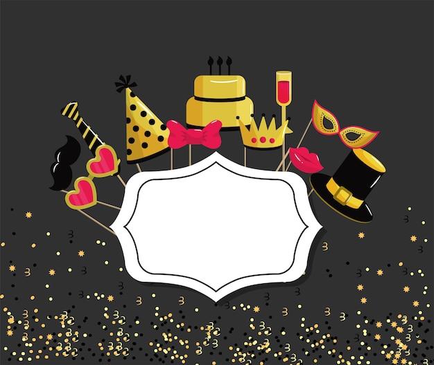 Emblème avec événement de décoration joyeux anniversaire