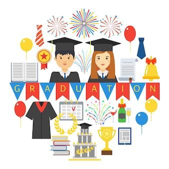 Emblème de fête de remise des diplômes isolé sur blanc.