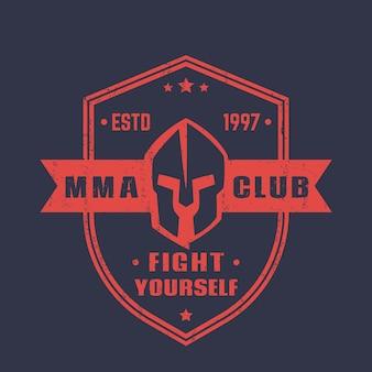 Emblème de forme de bouclier de club mma, insigne, logo avec casque spartiate
