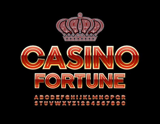 Emblème de fortune de casino et alphabet rouge et chiffres