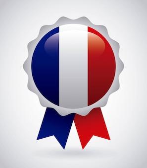 Emblème de la france avec les couleurs du drapeau français