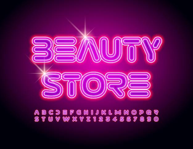 Emblème glamour de vecteur beauty store avec ensemble de lettres et de chiffres de l'alphabet électrique de police rose néon