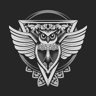 Emblème de hibou couleur argent