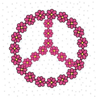 Emblème hippie mignon avec des fleurs