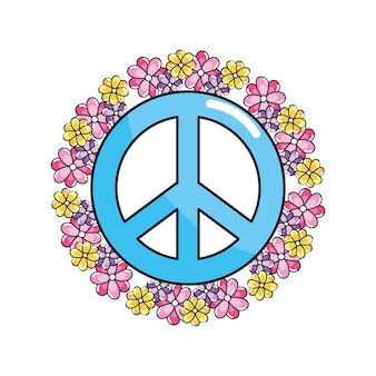 Emblème hippie symbole de paix et d'amour