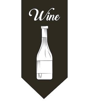 Emblème avec l'icône de la bouteille de vin