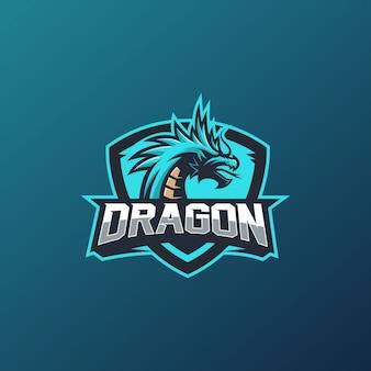 Emblème d'icône de conception de logo de dragon