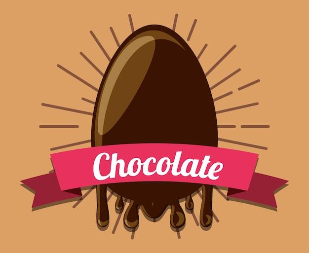 Emblème avec icône d'oeuf au chocolat sur fond marron