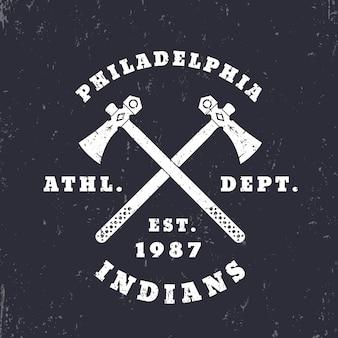 Emblème des indiens de philadelphie, logo, conception de t-shirt, impression, illustration