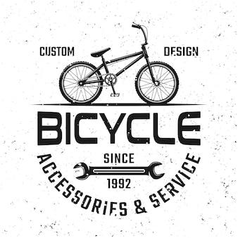 Emblème, insigne, étiquette ou logo noir de vecteur de magasin de bicyclette dans le style de cru d'isolement sur le fond avec des textures grunges démontables