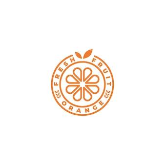 Emblème, insigne, timbre, création de logo orange autocollant