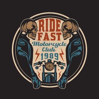 Emblème d'insigne vintage ride fast motorcycle club