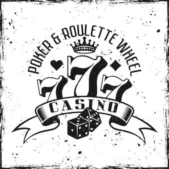 Emblème de jeu de casino sur l'illustration de fond texturé