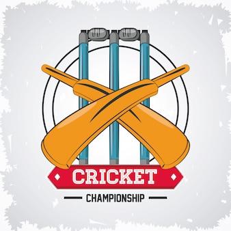 Emblème de jeu de championnat de cricket avec équipement