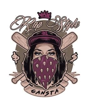 Emblème avec joli visage de fille swag hip hop. illustration vectorielle